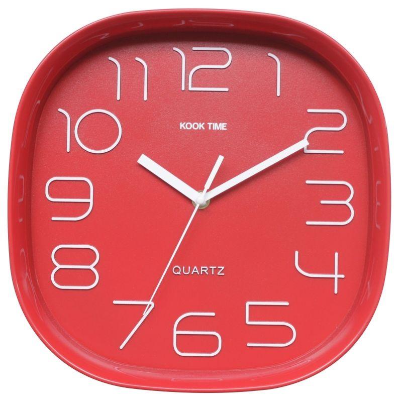 Reloj pared retro cuadrado rojo for Reloj pared retro